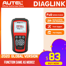 Autel diaglink obdii自動車診断ツールOBD2スキャナーすべてのシステムと同じdiyコードリーダー機能のautel MD802オイルepb