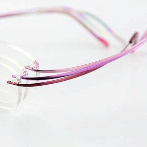 Image 5 - Pure Titanium Eyeglasses Rimless flexible Optical Frame Prescription Spectacle Frameless Glasses Eye glasses 010 Line Temple