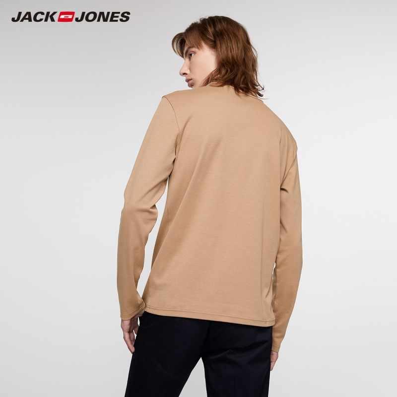 JackJones 남성 슬림 피트 100% 코튼 멀티 컬러 퓨어 컬러 하이 넥 긴팔 티셔츠 | 219302503