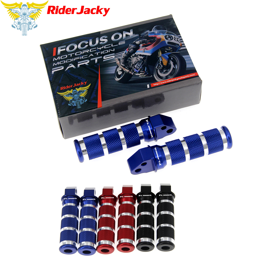 RiderJacky Round Rear Sport Foot Pegs Back Stands Steps Footrests For Suzuki TL1000R TL100R TL 1000 R TLR 1999-2003 2001 2002