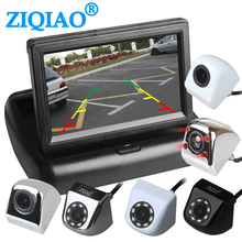 Ziqiao 4.3 Polegada dobrável retrovisor sistema de monitor estacionamento com metal coreano câmera visão traseira do carro