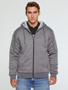 Image 2 - Brand Mens Fur Lined Hoodies Wool Warm Sweatshirts Autumn Winter Fleece Coats Sportswear 2019 Men Hoodie Outerwear Euro Size