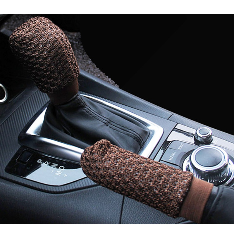 2pcs/set Ice Silk Hand Brake Sleeve Gear Set Handbrake Grips Four Seasons Car Accessories