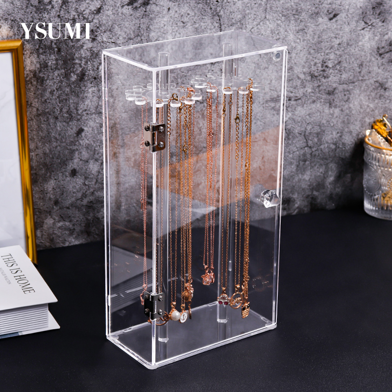 Acrylic 24 Hooks Rotation Necklace Display Stand  Pendant Display Organizer Holder Dust-proof Jewelry Display Box  YSUMI