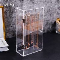Acrylic 24 Hooks Rotation Necklace Display Stand Pendant Display Organizer Holder Dust proof Jewelry Display Box YSUMI