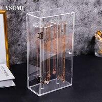 Acrylic 24 Hooks Rotation Necklace Display Stand Pendant Display Organizer Holder Dust proof Jewelry Display Box YSUMI