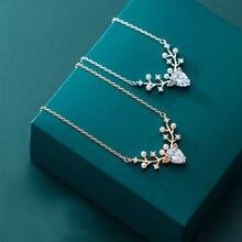 Женское ожерелье из серебра 100% пробы с подвеской в виде оленя