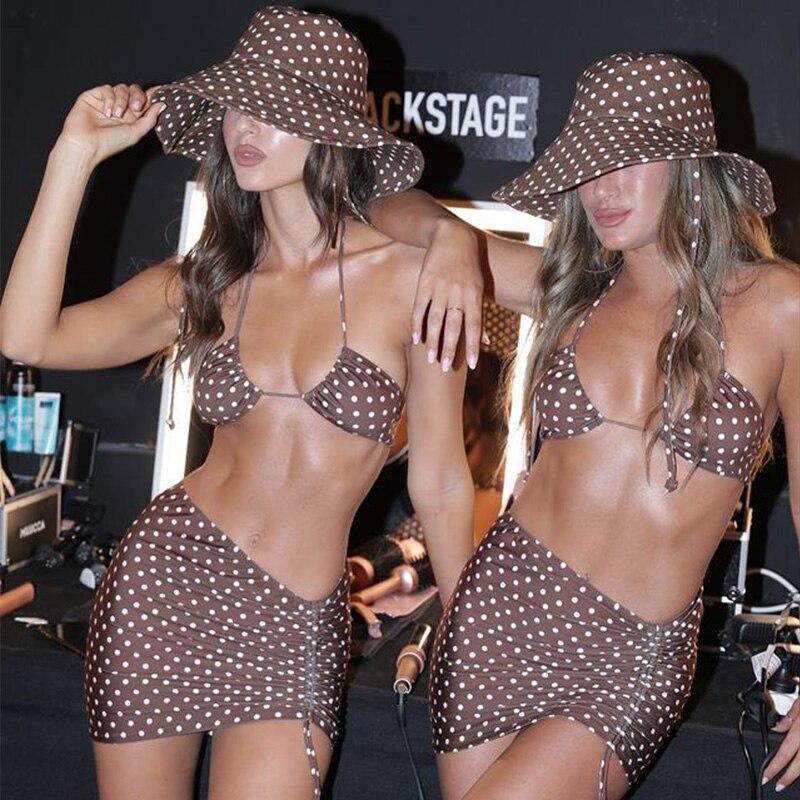 2021 Sexy 3-Stück Bikinis Anzug Halter Bademode Frauen Bademode Welle Punkt Badeanzug Weibliche Urlaub Strand Rock Schwarz Bikini set