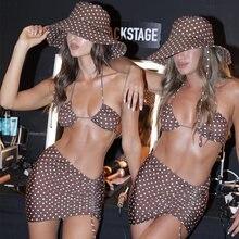 2021 sexy 3 peças biquinis terno halter banho feminino beachwear onda ponto maiô feminino férias praia saia preto conjunto de biquíni