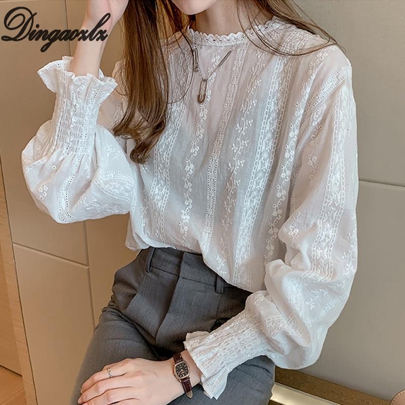 Dingaozlz estilo vintage camisa de renda manga alargamento oco para fora blusa branca roupas casuais nova moda feminina rendas topos blusa