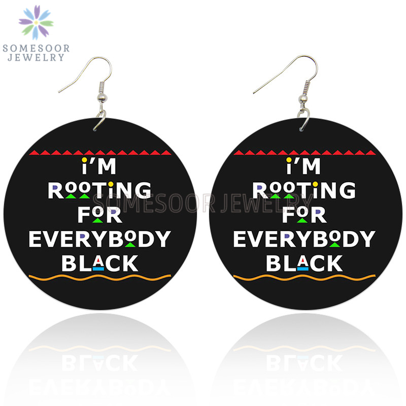 SOMESOOR Root Everybody Black African Wooden Drop Earrings Power Afro Sayings Both Sides Printing Dangle Jewelry For Women Gifts