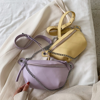 Solid Color PU Leather Crossbody Bags For Women 2020 Summer Chain Shoulder Bag Female Lady Handbags Simply Chest Bag