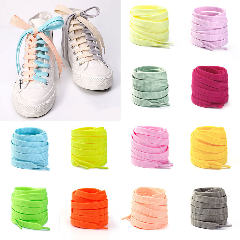 1Pair Thick Flat Shoelaces For Sneakers Basketball Shoes Lace Outdoor Running Casual Shoes Laces For Women Men Solid Shoe String