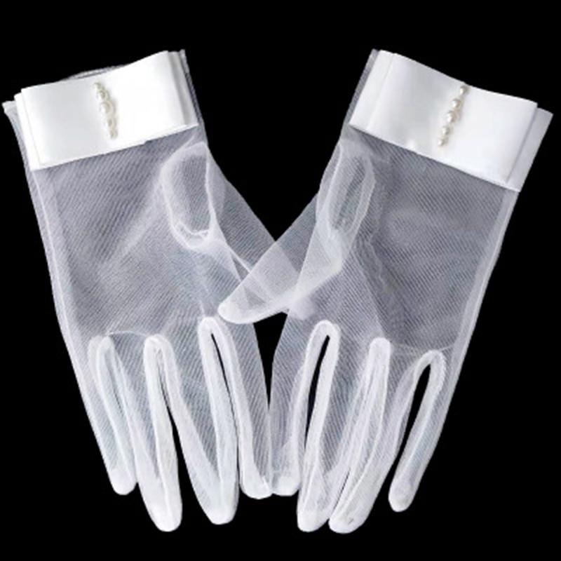 Summer Sunscreen Rhinestone Dress Gloves Female Short Bow Pearl Full Finger Cycling Lace Gloves Woman Anti-UV Driving Gloves K12