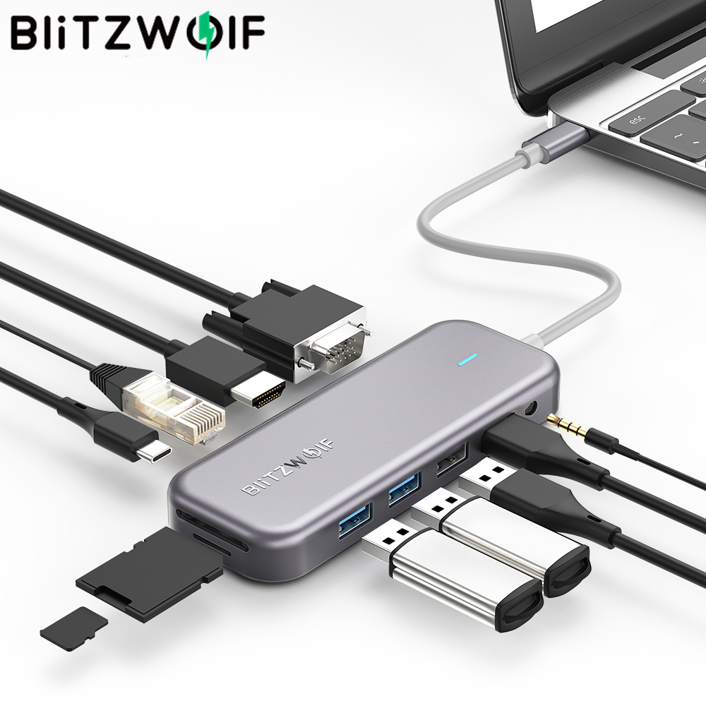 BlitzWolf BW-TH8 11 In 1 USB-C Data Hub With Type-C PD Power Delivery USB3.0 Resolution Stable Internet SD TF Card Audio Sync