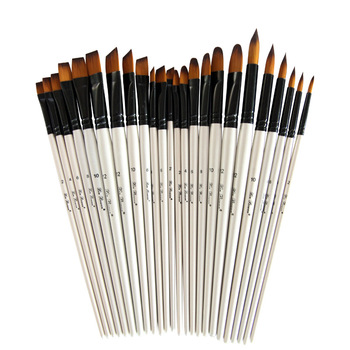 6 pcs/set Two-tone Nylon hair brush Pearl white wood pole for oil paint Watercolor beginners Art - discount item  30% OFF Art Supplies