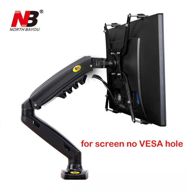 "NB F80 + FP 1 הארכת עבור לא VESA חור 17 27 ""LED צג מחזיק זרוע גז אביב מלא תנועה גז יתד Flexi הר עומס 2 9kgs"