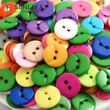 Fashion 50-200Pcs/Pack 15mm Round 2Holes Resin Buttons Sewing Tools Scrapbooking Decorative Button For Clothes Diy Accessories