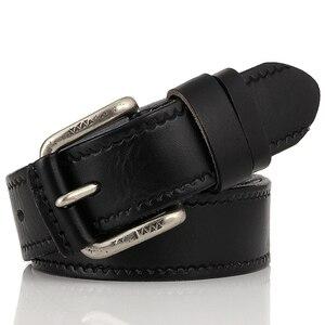 Image 2 - Cinto de couro genuíno masculino, cinto de couro genuíno para calças de brim, cinto vintage com fivela, para homens