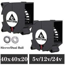 2pcs Gdstime 3D printer fan 40mm 4020 Turbo blower 24V 12V 5V Double ball sleeve Cooling fans 40x40x20mm for 3D printer cooler