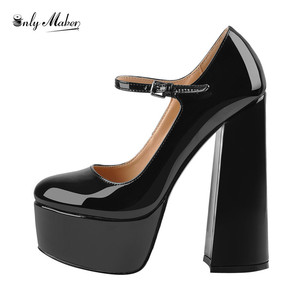 Image 2 - Onlymaker Womens Mary Jane  Platform Chunky 15~16CM High Pumps Heels Ankle Strap Dress Hoof Heels Black Shoes Plus Size
