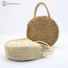 Pabaobao Straw Woven bags for women 2019 Round Beach HandBags Large capacity Crossbody Shoulder Bag bolsa feminina