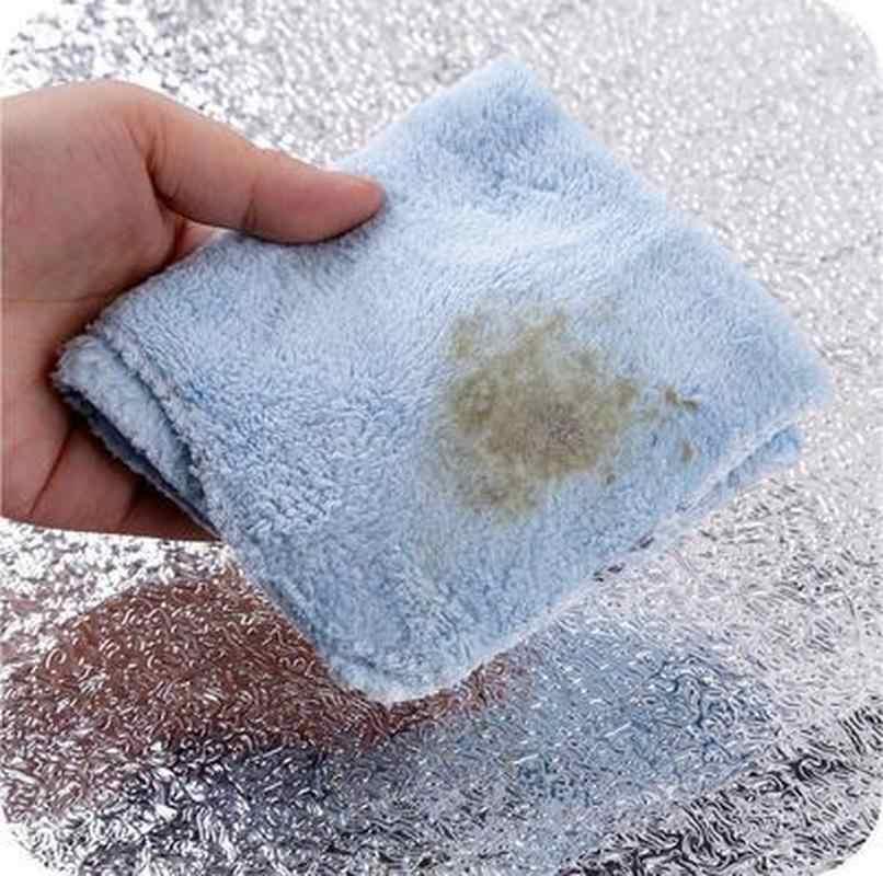 น้ำมันกันน้ำสติกเกอร์อลูมิเนียมฟอยล์เตาครัวตู้สติกเกอร์กาววอลเปเปอร์ DIY สติ๊กเกอร์ติดผนัง