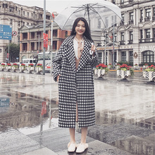 Plaid Cardigan Outerwear Woolen Coat Spring Turn-Down-Collar Warm Thick Plus-Size Full