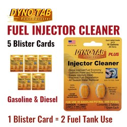 Dyno Tab Of the Fuel Injector Cleaner Petrol Gasoline & Diesel Fuel Economy Saver Carbon Cleaner (5 Blister Cards)
