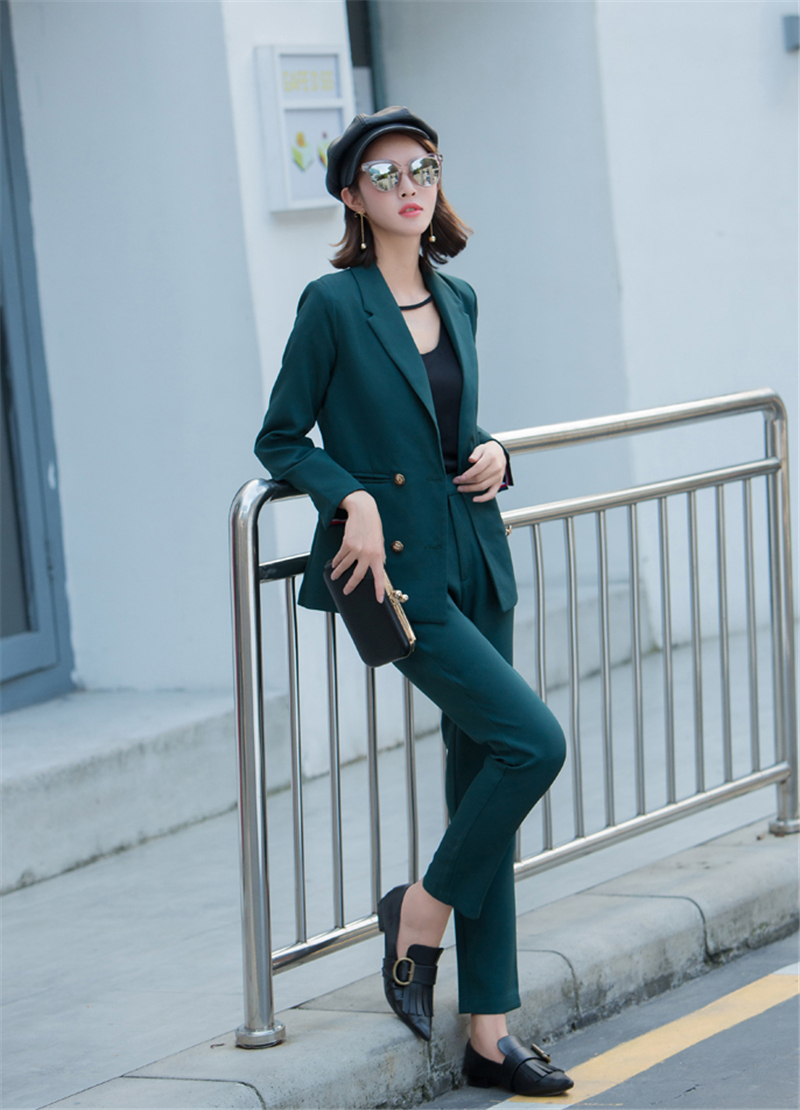 New Women Solid Suit Suit Fashion Casual Small Suit Trousers British Style Female Professional Wear Pant Suits Two-piece