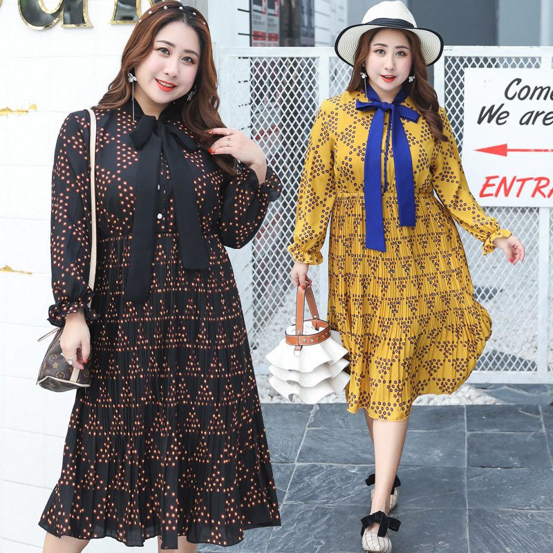 2019 Autumn Clothing New Style Manufacturers Direct Supply A Generation Of Fat Plus-sized Extra Large Long-sleeved Dress Sweet 6