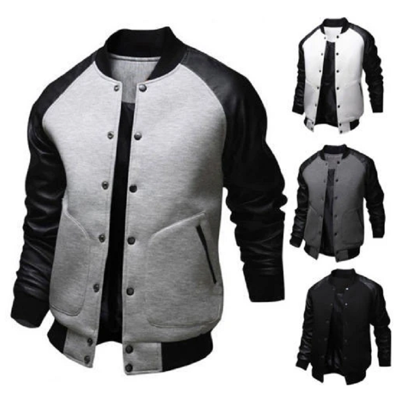 Mens Baseball Jacket Autumn Fashion Cool Outwear Jacket Patchwork Stand Collar Casual Slim Fit Jackets And Coats For Men