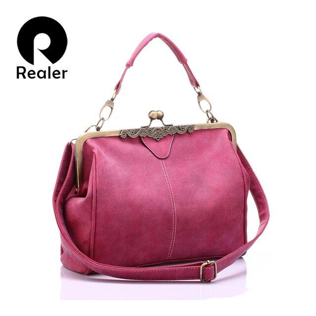 REALER женская сумка, женские сумки-мессенджеры, маленькая сумка на плечо, женская сумка-тоут из искусственной кожи, Дамский маленький клатч-кошелек, бренд, ретро 2019