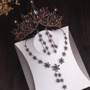 Baroque Vintage Black Crystal Bridal Jewelry Sets Rhinestone Crown Tiara Choker Necklace Earring Dubai African Beads Jewelry Set Fashion Jewelry