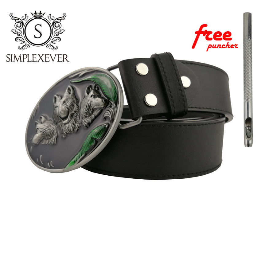 Men's Vintage Western Cowboy Wolf Head Belt Buckle For Men's Gift Fashion Zinc Alloy Belt Buckle With Leather Belt