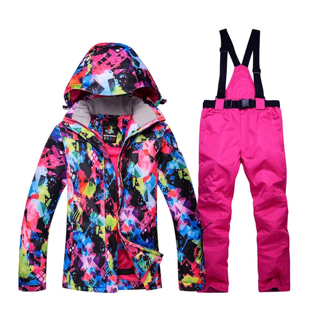 New Thick Warm Women's Ski Suit Waterproof Windproof Skiing and Snowboarding Jacket Pants Set Winter Jacket Women Snow Costumes