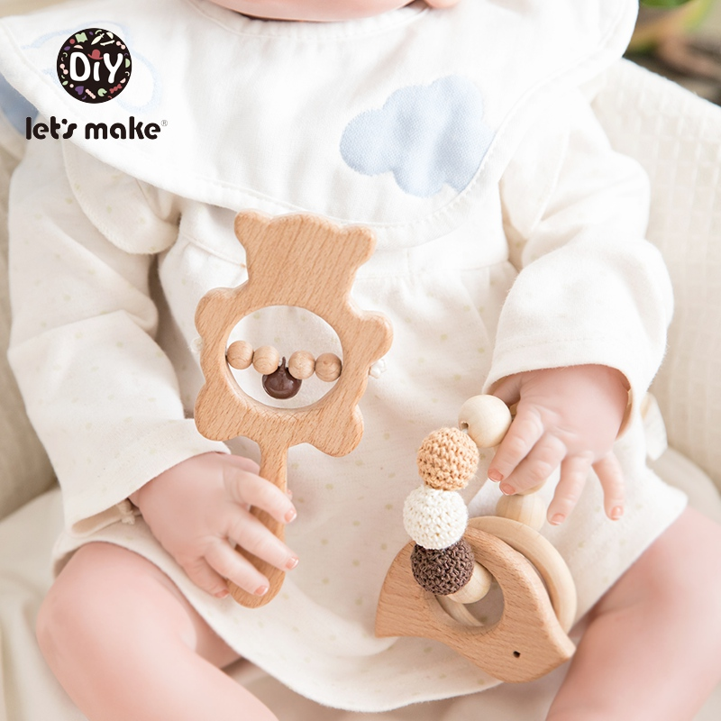 Let's Make Baby Toys Teether Wooden Rattles Bracelet Pacifier Chain Rodent Beading Beech Musical Newborn Bear 2pcs/set Bed Bell
