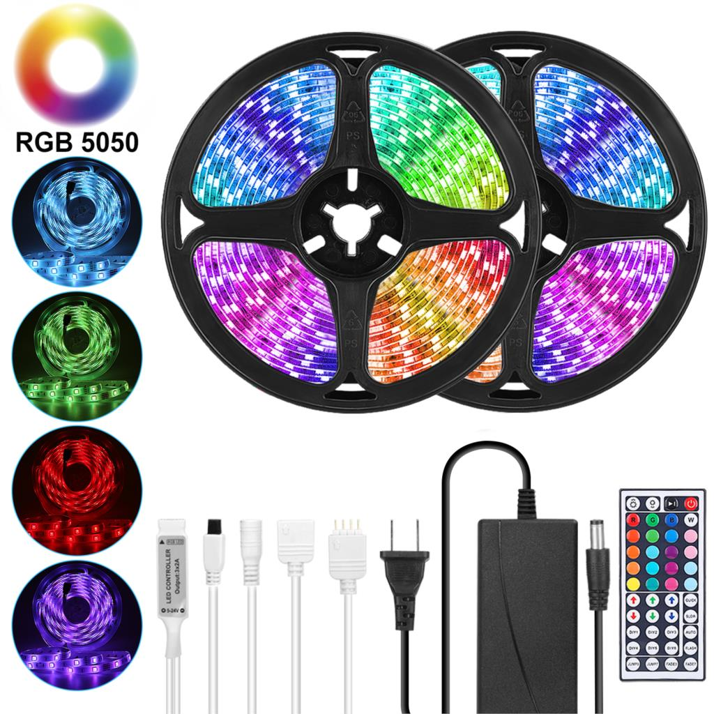 Goodland LED Strip 12V Ribbon LED Lights Strip RGB Tape SMD 5050 2835 Flexible 5M 10M Diode Tape With Remote LED Light For Room