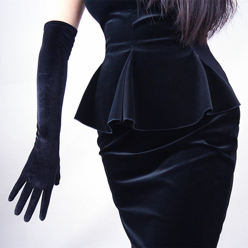 Spring Autumn Women Gold Velvet Long Gloves 43cm Long Dinner Dress Gloves Black Warm Velvet Elastic Warm Driving Gloves H47