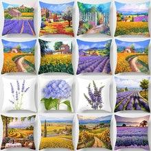 Vintage Decorative Pillow Covers Purple Blue White Gold Flowers Lavender Cushion Cover Sofa Home Car Pillow Covers Home Decor parris afton bonds lavender blue