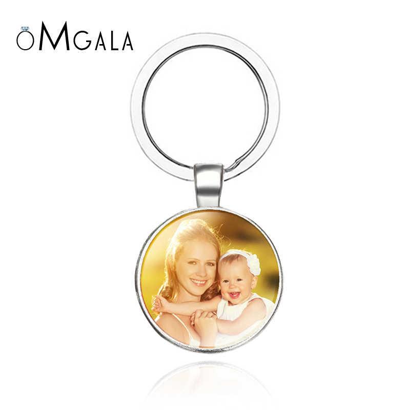 OMGALA תמונה אישית keychain מותאם אישית מפתח שרשרת תמונה של שלך תינוק ילד אמא אבא סב אהב חג המולד מתנה