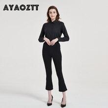 AYAOZTT Weiß Arbeit Bluse Langarm Damen Tops Büro koreanische frauen bluse Shirts Frauen Blusas Camisas Mujer Plus Größe 2020