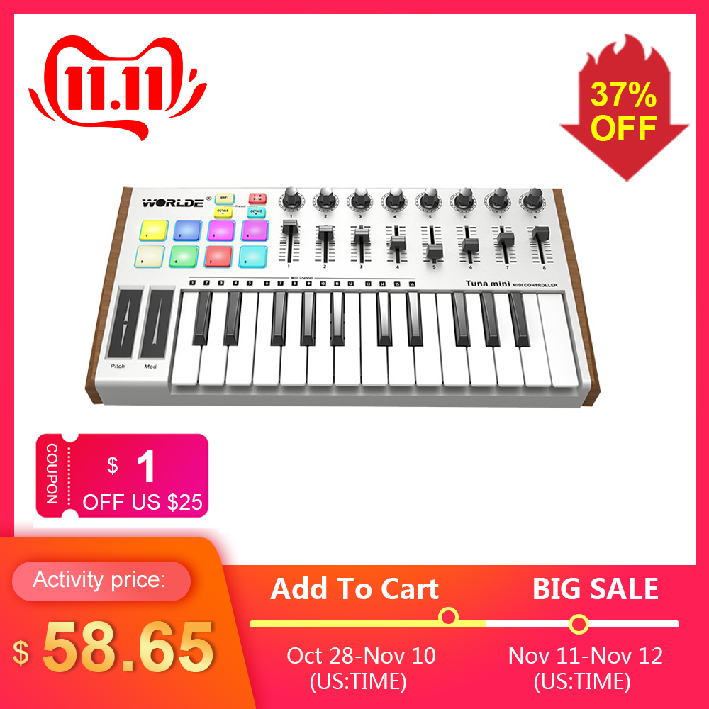 MIDI Controller WORLDE TUNA Mini 25Key MIDI Keyboard Controller USB Bus Powered Trigger Pad Professional Musical Instrument