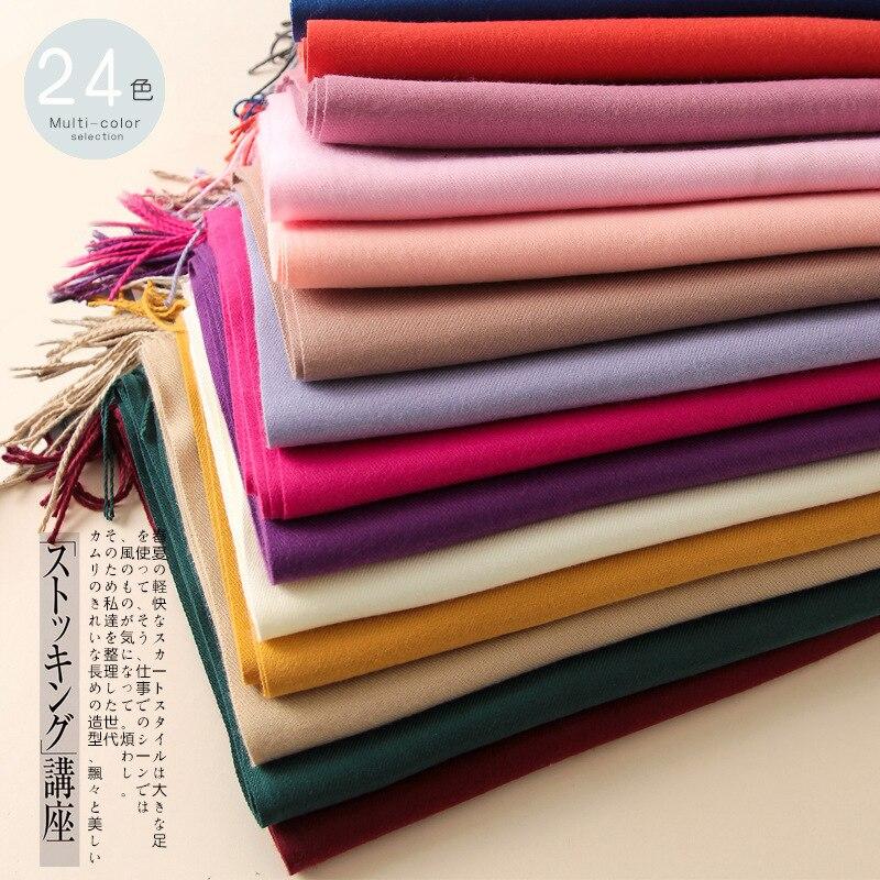 Зимний теплый кашемировый шарф для женщин, одноцветные модные шали и накидки, шарфы для шеи с кисточками, Длинные шерстяные шарфы для женщин