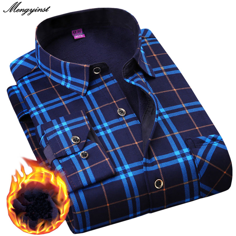 Plus 5XL 6XL Winter Thicking Warm Men Shirt 2020 Male Turn-down Business Casual Flannel Velvet Long Sleeve Plaid Dress Shirts
