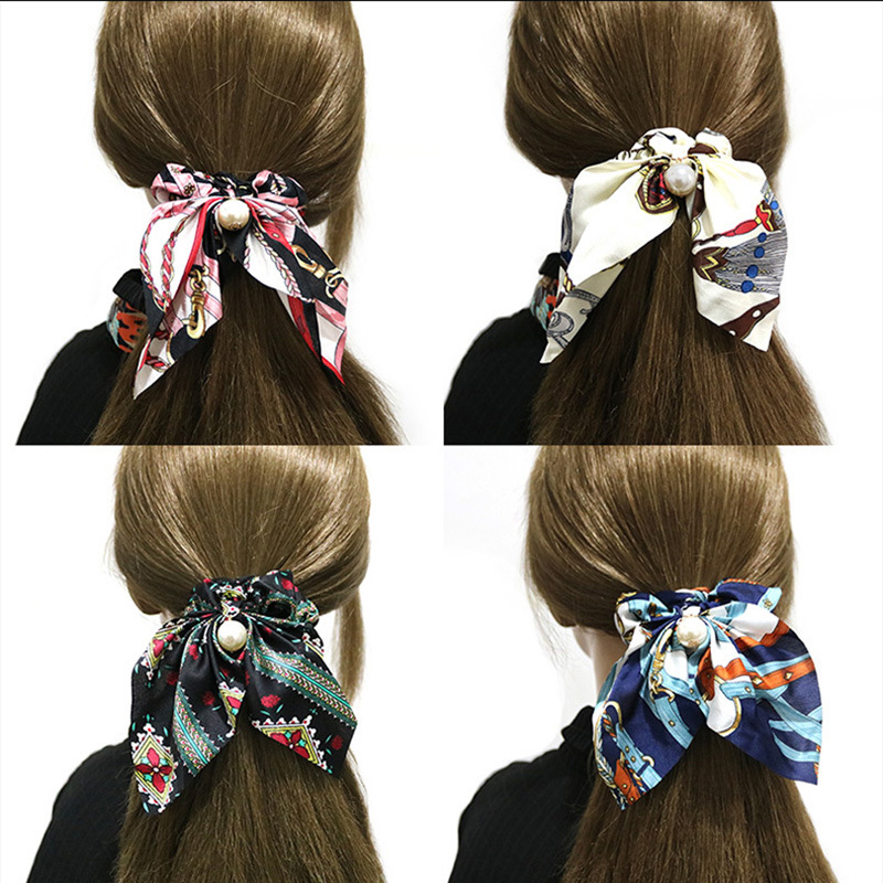 Fashion Hair Scrunchies Jewelry Ponytail Holder Bow Elastic Hair Accessories For Women Scarf Bow Tie Hair Band Ribbon   Headwear