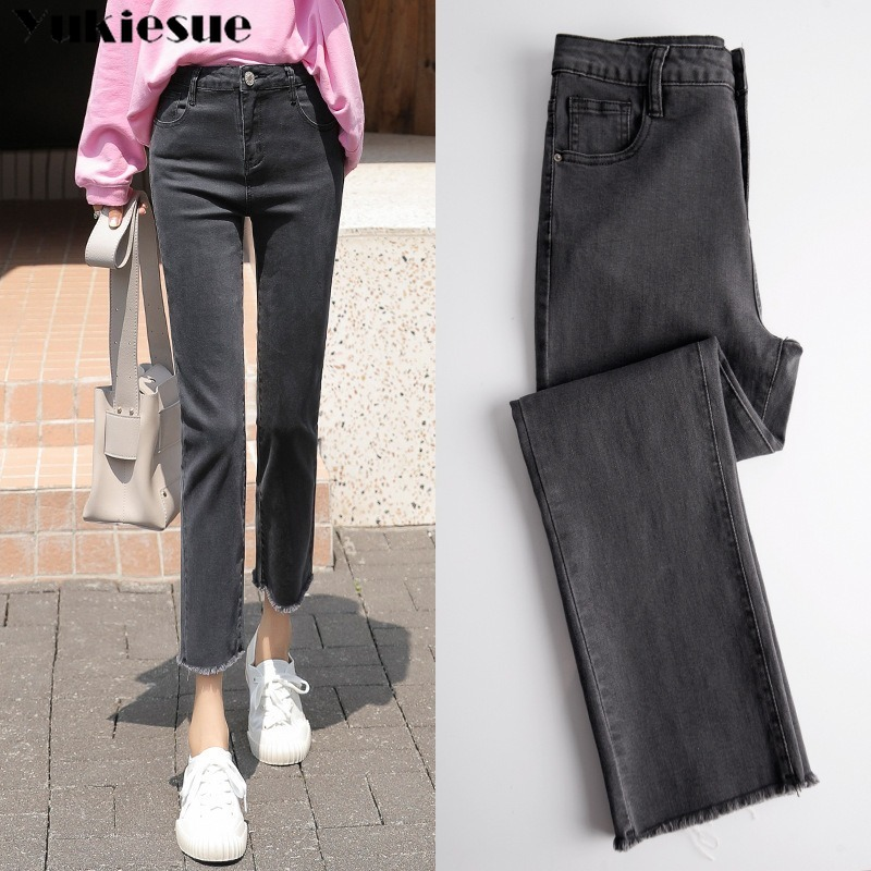 Vintage Ripped Jeans Women Gray High Waist Denim Pants Mujer Mom Boyfriend Straight Jeans Woman Autumn Spring 2020 Denim Jeans