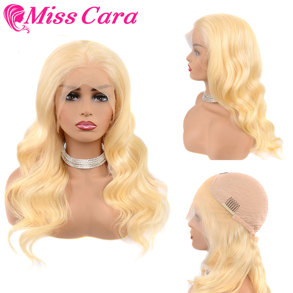 613 Blonde Lace Front Human Hair Wigs Pre Plucked 613# Malaysian Body Wave Human Hair Wigs For Black Women Miss Cara Remy Wigs image