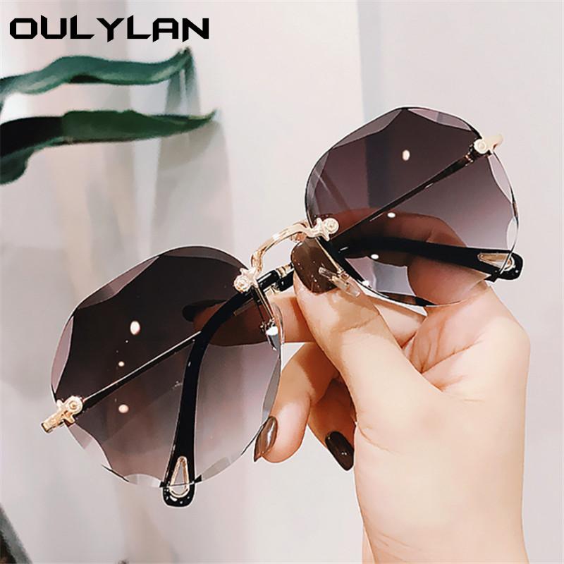 Oulylan Rimless Sunglasses Women Luxury Trimming Gradient Shades Sun Glasses Ladies Vintage Framless Eyewear UV400