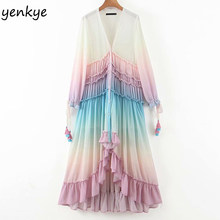 Multicolor Gradient Print Long Maxi Dress Women V Neck Long Sleeve Ruffle Holiday Boho Beach Dress A-line Chiffon Summer Dress